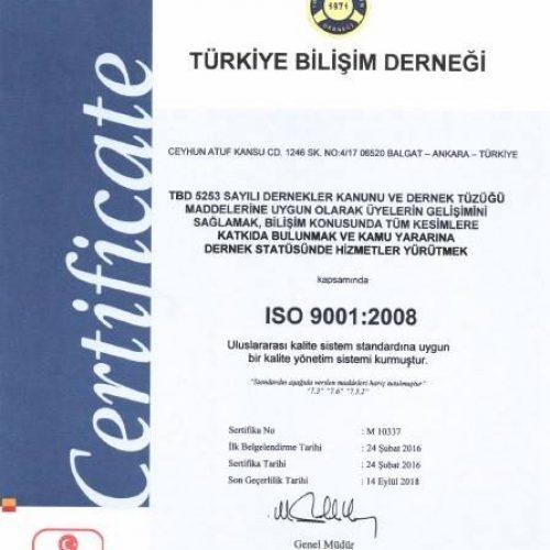 Türkiye Bilişim Derneği uzun yıllardır sahip olduğu kurumsal yapısını ISO 9001:2008 Kalite Yönetim Sistemi Belgesini alarak taçlandırdı.
